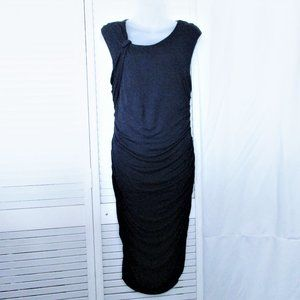 Allen B navy ruched rayon dress gathered neck M